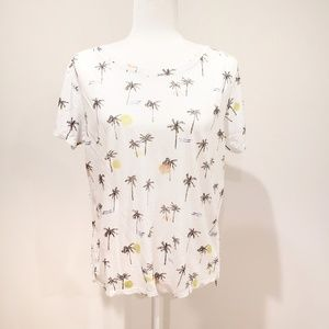 Lucky Brand Palm Tree Print Top